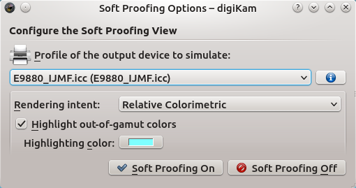 Soft Proofing in digiKam