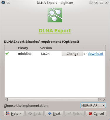 Using the DLNA Export Kipi plugin