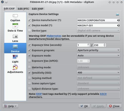 digiKam - Apply EXIF Metadata to Multiple Photos in digiKam
